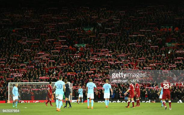 Liverpool fans cheer on their team during the UEFA Champions League quarter final leg one match between Liverpool and Manchester City at Anfield on...
