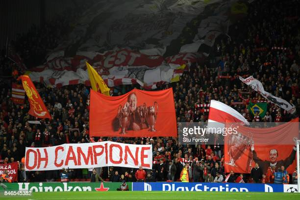 Liverpool fans display banners prior to the UEFA Champions League group E match between Liverpool FC and Sevilla FC at Anfield on September 13 2017...