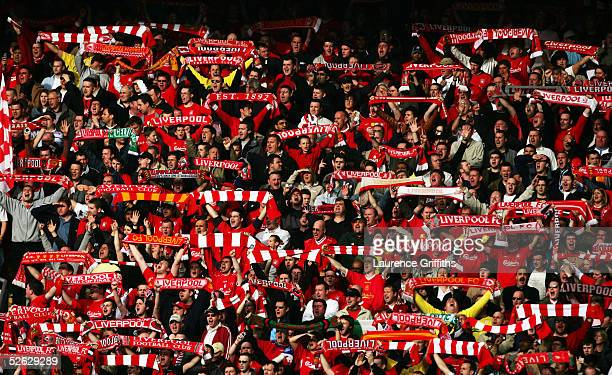 Liverpool fans during the FA Barclays Premiership match between Liverpool and Everton at Anfield on March 20 2005 in Liverpool England