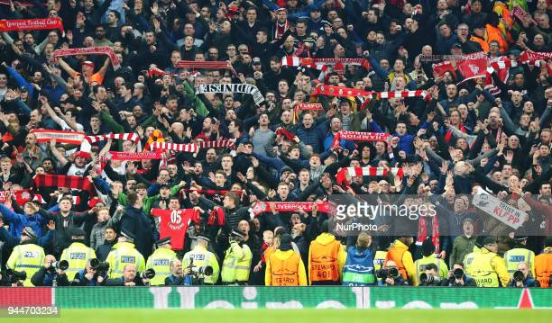 Liverpool Fans during the UEFA Champions League Quarter Final Second Leg match between Manchester City and Liverpool at Etihad Stadium on April 10...
