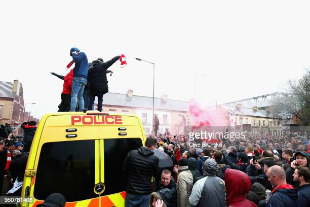 Liverpool fans enjoy the atmosphere outside the stadium prior to the UEFA Champions League Semi Final First Leg match between Liverpool and AS Roma...