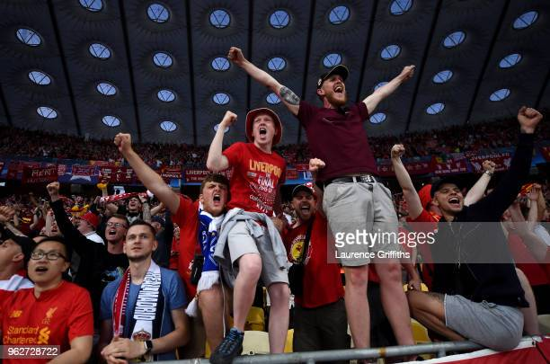 Liverpool fans enjoy the pre match atmosphere prior to the UEFA Champions League Final between Real Madrid and Liverpool at NSC Olimpiyskiy Stadium...