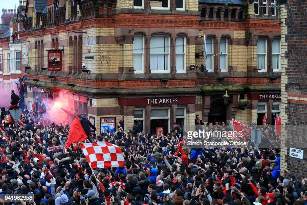 Liverpool fans fill the streets outside The Arkles pub prior to the UEFA Champions League Quarter Final First Leg match between Liverpool and...