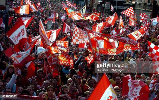 Liverpool fans following the victory parade