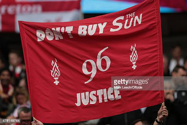 Liverpool fans hold a banner urging people not to by the Sun newspaper during the FA Cup SemiFinal match between Aston Villa and Liverpool at Wembley...