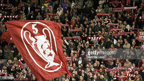 Liverpool fans in the Kop stand ahead of the Barclays Premiership match between Liverpool and Portsmouth at Anfield on November 29 2006 in Liverpool...