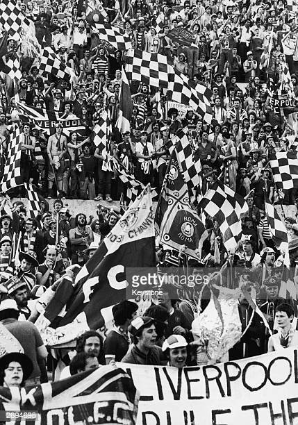 Liverpool fans in the north curve of the Olympic Stadium in Rome during the European Cup final against Borussia Moenchengladbach whcih Liverpool went...