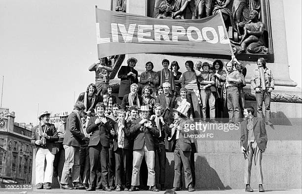 Liverpool fans in Trafalgar Square prior to the FA Cup Final between Liverpool and Arsenal held on May 8 1971 at Wembley Stadium in London Arsenal...