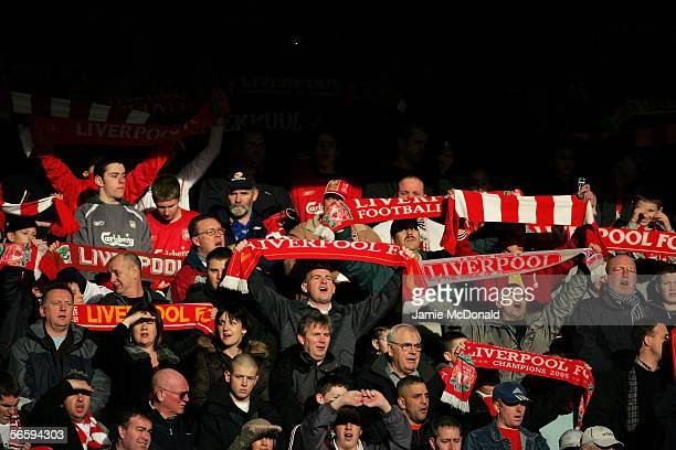 Liverpool fans join together for a rendition of 'You'll never walk alone prior to the Barclays Premiership match between Liverpool and Tottenham...