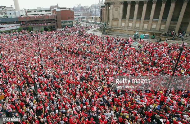 Liverpool fans pack the streets as they wait for their team to arrive at St George's Hall during the Liverpool Champions League Victory Parade on May...