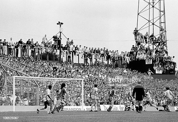 Liverpool fans packed into Highfield Road Coventry during the Division One football match between Coventry City and Liverpool on 29th August 1987...