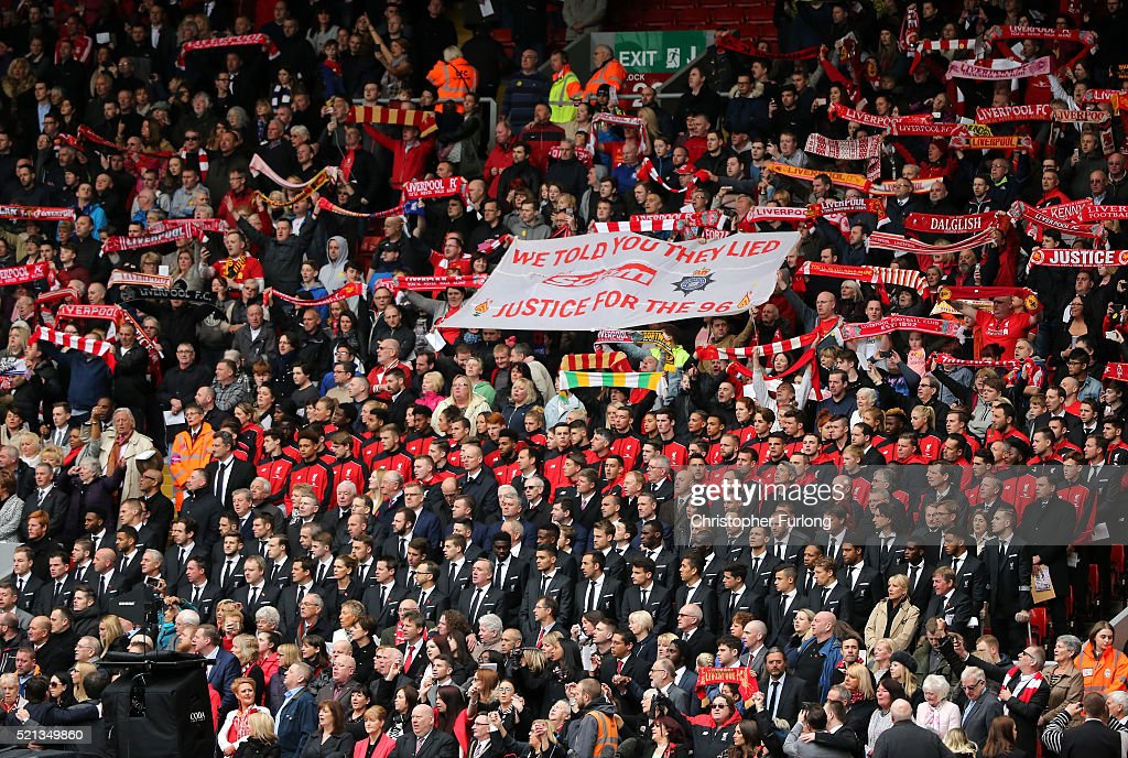 Liverpool fans, players and dignitaries sing 'You'll Never Walk Alone' during a memorial service to mark the 27th anniversary of the Hillsborough disaster, at Anfield stadium on April 15, 2016 in Liverpool, England. Thousands of fans, friends and relatives took part in the final Anfield memorial service for the 96 victims of the Hillsborough disaster. Earlier this year relatives of the victims agreed that this year's service would be the last. Bells across the City of Liverpool rang out during a one minute silence in memory of the 96 Liverpool supporters who lost their lives during a crush at an FA Cup semi-final match against Nottingham Forest at the Hillsborough football ground in Sheffield, South Yorkshire in 1989.
