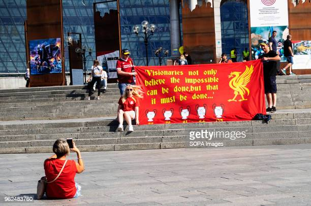Liverpool fans seen displaying a banner at independence square On Saturday May 26 Kiev will host the finals of the largest and most prestigious...