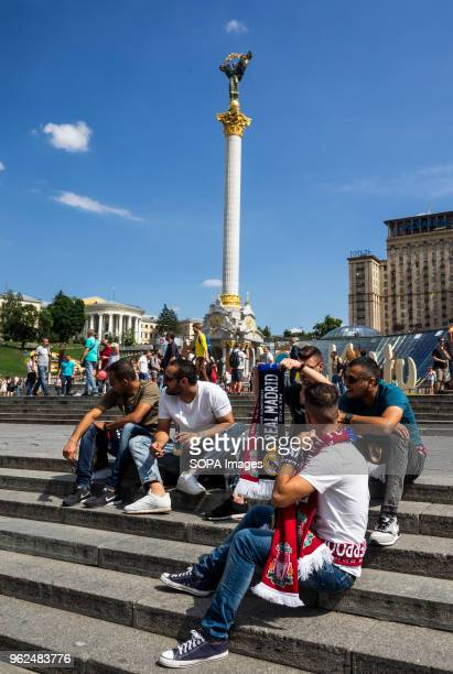 Liverpool fans seen sitting on the stairs to Independence Square On Saturday May 26 Kiev will host the finals of the largest and most prestigious...