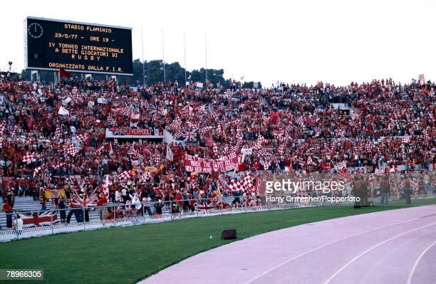 Football 25th May 1977 Rome Italy European Cup Final Liverpool 3 v Borussia Moechengladbach 1 A vast bank of Liverpool supporters make a colourful...