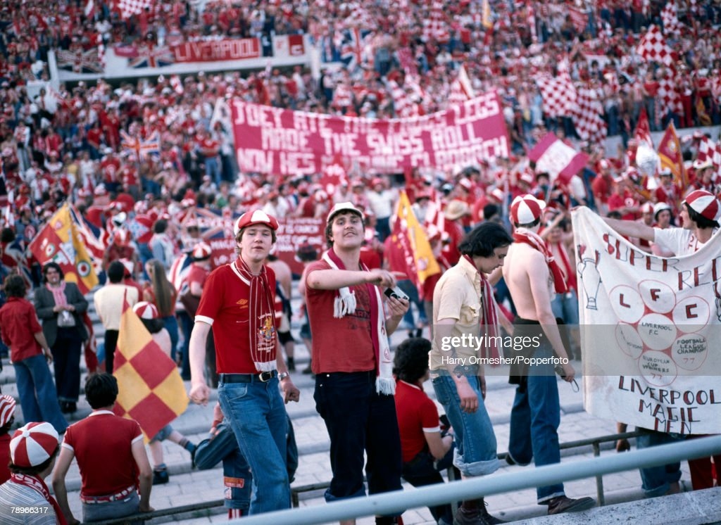 Football. 25th May 1977. Rome, Italy. European Cup Final. Liverpool 3 v Borussia Moechengladbach 1. Liverpool fans provide a colourful backdrop as they support their team. : News Photo