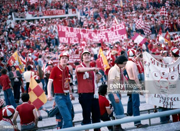 Football 25th May 1977 Rome Italy European Cup Final Liverpool 3 v Borussia Moechengladbach 1 Liverpool fans provide a colourful backdrop as they...