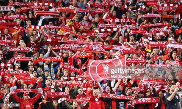 Liverpool fans show their support before the International Friendly match between Sydney FC and Liverpool FC at ANZ Stadium on May 24 2017 in Sydney...