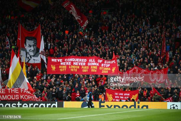 Liverpool fans show their support during the UEFA Champions League Semi Final second leg match between Liverpool and Barcelona at Anfield on May 07...