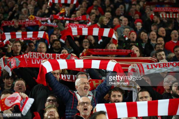 Liverpool fans show their support prior to the Premier League match between Liverpool FC and Everton FC at Anfield on December 2 2018 in Liverpool...