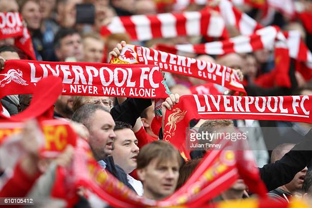 Liverpool fans show their support prior to the Premier League match between Liverpool and Hull City at Anfield on September 24 2016 in Liverpool...