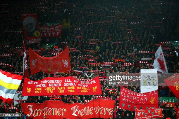 Liverpool fans show their support prior to the UEFA Champions League Round of 16 First Leg match between Liverpool and FC Bayern Muenchen at Anfield...