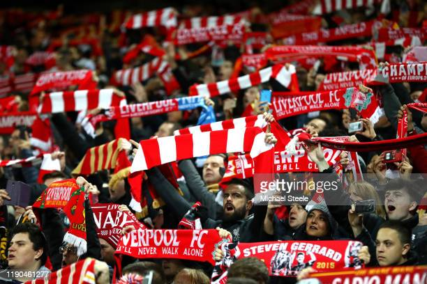 Liverpool fans show their support prior to the UEFA Champions League group E match between Liverpool FC and SSC Napoli at Anfield on November 27,...