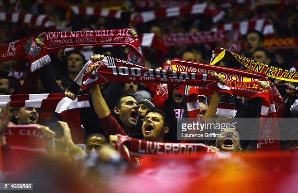 Liverpool fans show their support prior to the UEFA Europa League Round of 16 first leg match between Liverpool and Manchester United at Anfield on...