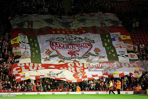Liverpool fans show their support with a giant banner during the UEFA Europa League Group K match beteween Liverpool and Steaua Bucharest at Anfield...