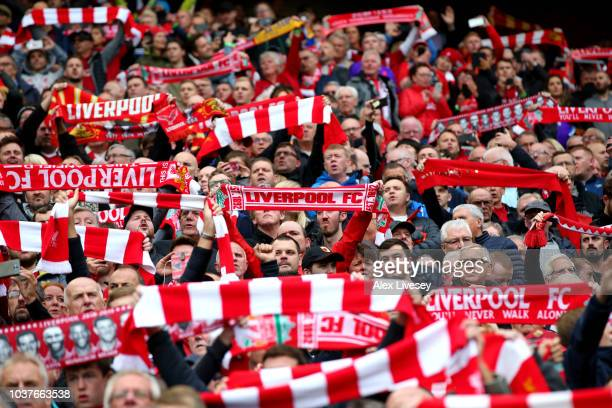 Liverpool fans sign you will never walk alone prior to the Premier League match between Liverpool FC and Southampton FC at Anfield on September 22...
