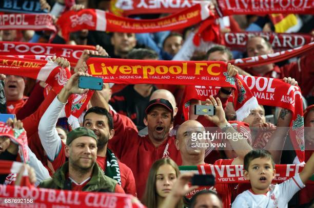 Liverpool fans sing prior to an endofseason friendly football match against Sydney FC at the Olympic Stadium in Sydney on May 24 2017 / AFP PHOTO /...