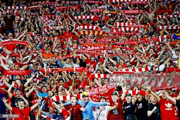 Liverpool fans sing You'll Never Walk Alone ahead of the Champions League final during the UEFA Champions League final between Real Madrid and...