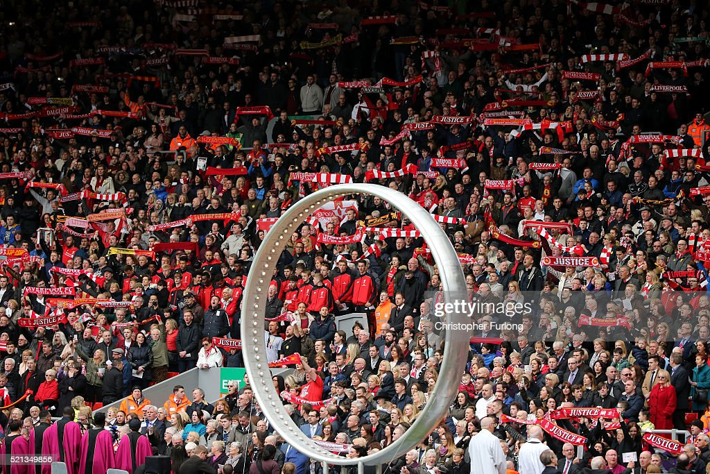 Liverpool fans sing 'You'll Never Walk Alone' alongside the 'Eternal Ring' during a memorial service to mark the 27th anniversary of the Hillsborough disaster, at Anfield stadium on April 15, 2016 in Liverpool, England. Thousands of fans, friends and relatives took part in the final Anfield memorial service for the 96 victims of the Hillsborough disaster. Earlier this year relatives of the victims agreed that this year's service would be the last. Bells across the City of Liverpool rang out during a one minute silence in memory of the 96 Liverpool supporters who lost their lives during a crush at an FA Cup semi-final match against Nottingham Forest at the Hillsborough football ground in Sheffield, South Yorkshire in 1989.