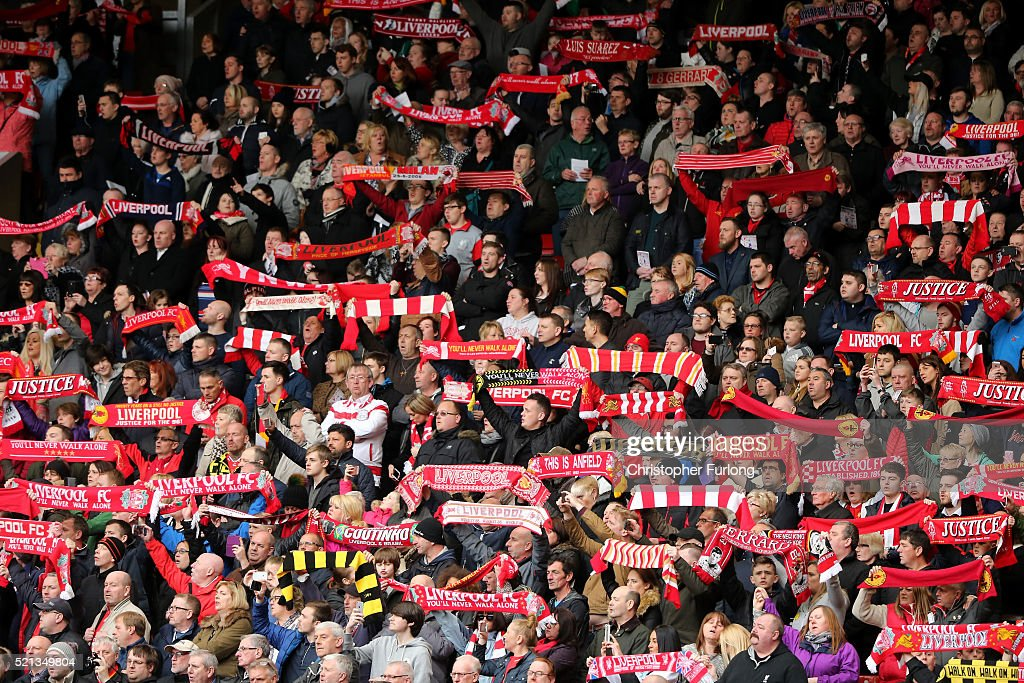 Liverpool fans sing 'You'll Never Walk Alone' during a memorial service to mark the 27th anniversary of the Hillsborough disaster, at Anfield stadium on April 15, 2016 in Liverpool, England. Thousands of fans, friends and relatives took part in the final Anfield memorial service for the 96 victims of the Hillsborough disaster. Earlier this year relatives of the victims agreed that this year's service would be the last. Bells across the City of Liverpool rang out during a one minute silence in memory of the 96 Liverpool supporters who lost their lives during a crush at an FA Cup semi-final match against Nottingham Forest at the Hillsborough football ground in Sheffield, South Yorkshire in 1989.