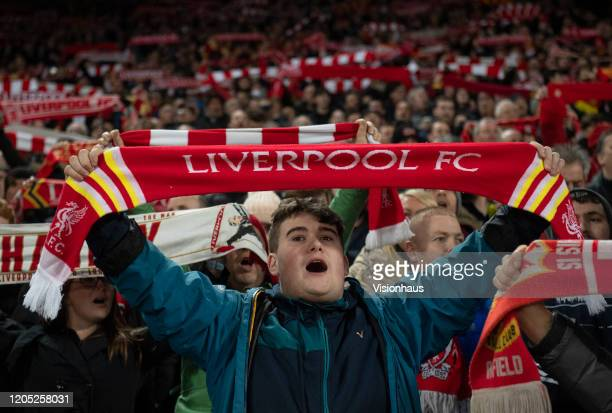 Liverpool fans sing Youu2019ll Never Walk Alone before the FA Cup Fourth Round Replay match between Liverpool and Shrewsbury Town at Anfield on...