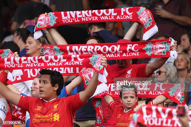 Liverpool fans singing 'you'll never walk alone' before the Liverpool Vs AS Roma friendly pre season football match at Fenway Park Boston USA 23rd...