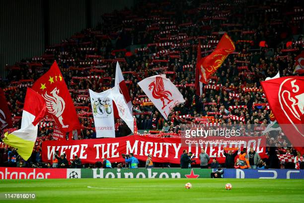 Liverpool fans support their team before the UEFA Champions League Semi Final second leg match between Liverpool and Barcelona at Anfield on May 07...