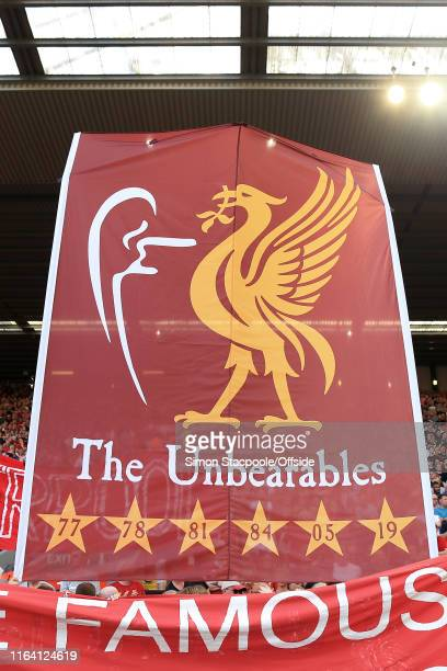 Liverpool fans unveil a banner declaring themselves 'The Unbearables' along with their 6 European Cup triumphs during the Premier League match...