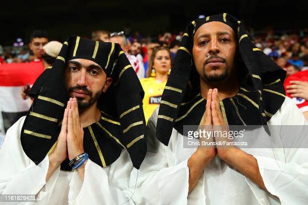 Liverpool fans wearing Egyptian head dresses show their support prior to the UEFA Super Cup match between Liverpool and Chelsea at Vodafone Park on...