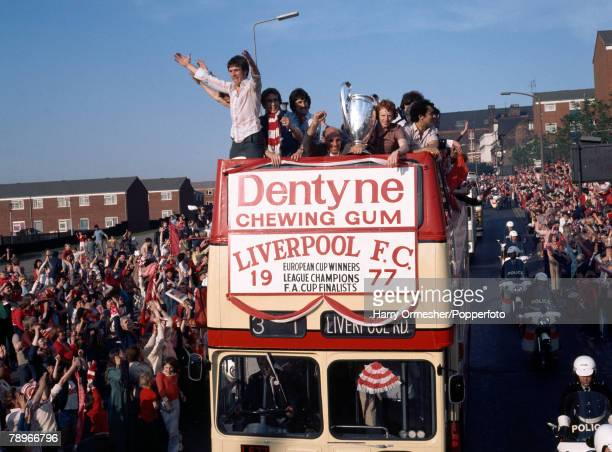 Football 26th May 1977 Liverpool England The victorious Liverpool team return home from their European Cup victory in Rome to a rapturous welcome...