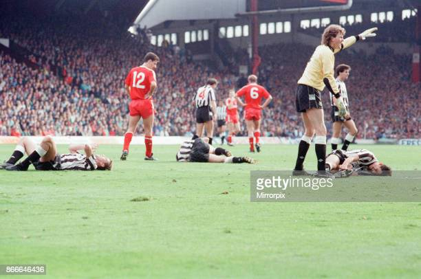 Liverpool FC 12 Newcastle United FC Division One league match at Anfield Saturday 1st October 1988 Dave Beasant goalkeeper Players laying on ground...
