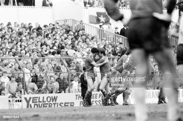 Liverpool FC 20 Southampton FC FA Cup Semi Final match at White Hart Lane Saturday 5th April 1986 Ian Rush and Kenny Dalglish celebrating goal