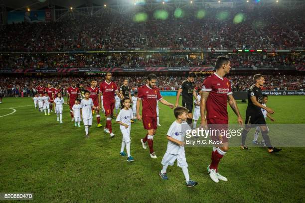 Liverpool FC and Leicester City FC line up during the Premier League Asia Trophy match between Liverpool FC and Leicester City FC at Hong Kong...