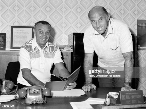 Liverpool FC assistant manager Joe Fagan and chief coach Ronnie Moran during a meeting at Anfield in Liverpool, England, circa December 1979.