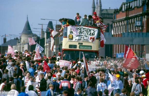Liverpool FC celebrate being the FA Cup and Canon League Division One champions and parade the trophies in an open top bus down the Scotland Road on...