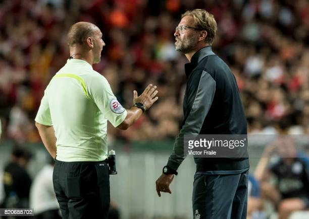 Liverpool FC Coach Jurgen Klopp argues with referee Bobby Madley during the Premier League Asia Trophy match between Liverpool FC and Leicester City...