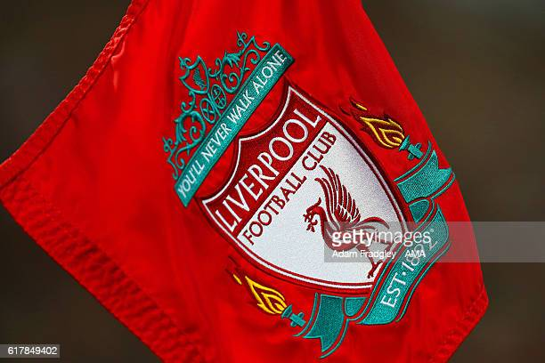 Liverpool FC crest / badge on a corner flag during the Premier League match between Liverpool and West Bromwich Albion at Anfield on October 22 2016...