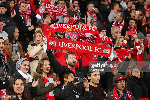 Liverpool FC fans sing You'll never walk alone before the start of the international friendly match between Brisbane Roar and Liverpool FC at Suncorp...