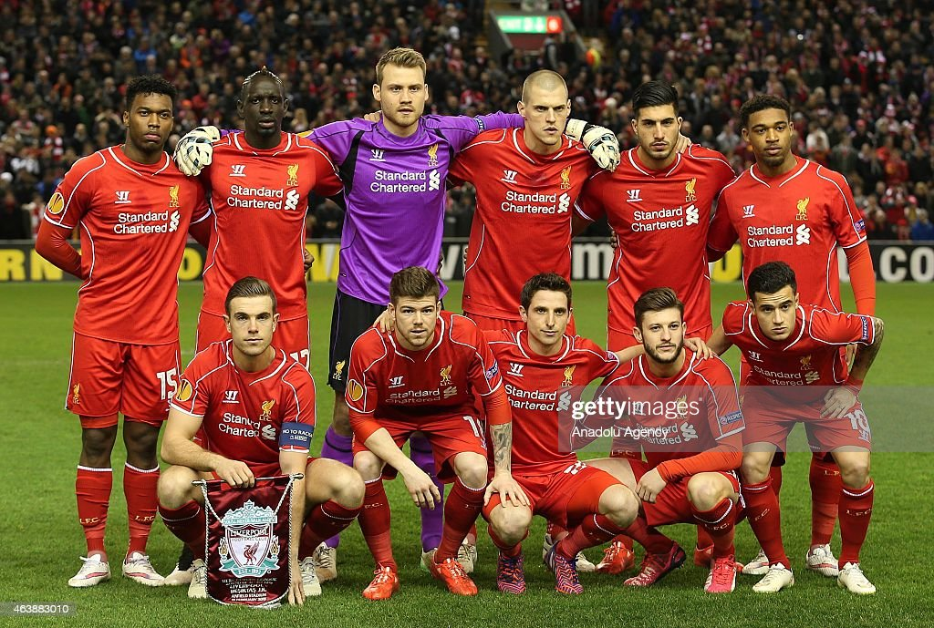 Liverpool FC first team pose for a team photo prior to the UEFA Europa League Round of 32 match between Liverpool and Besiktas at Anfield Stadium in Liverpool on February 19 2015.