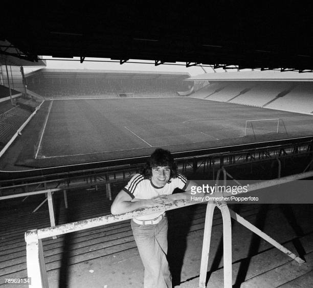 Football March 1976 Anfield Liverpool Liverpool FC player Kevin Keegan is pictured on the terracing at Anfield